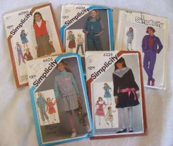 5 Vintage 1980s Girls Clothes Sewing Patterns.. Lot 3