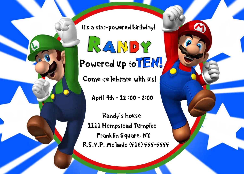 Mario luigi invitation super mario bros invite birthday zoom filmwisefo