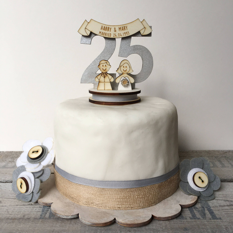 25th wedding anniversary cake topper - silver wedding topper ...
