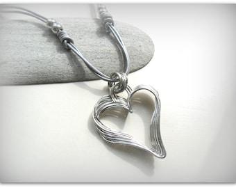 Chunky Silver Pendant Heart Silver Heart Long Necklace Wonky Heart Necklace Layered Heart Silver Cord Jewelry Etsy UK UK Shop