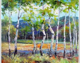 Signed Antonio Russian Landscape Oil On Canvas Original Impressionist Painting Collectible Fine Art