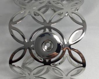 Cuff Bracelet carved metal snap chunk interchangeable 18-25mm (2 model)
