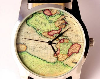 25% OFF ON SALE World map watch, antique map of America