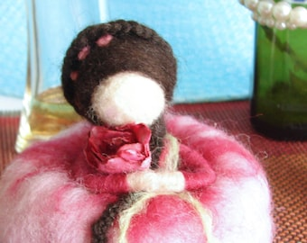 Pincushion Doll. Needle felted  in Pink Pin Cushion