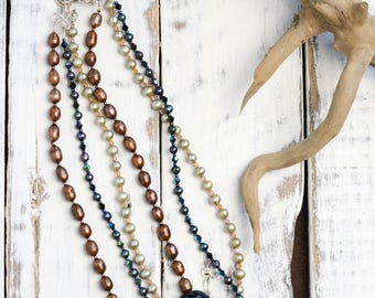 """18"""" - 25"""" Pearl, Lampwork and Crystal, Three Strand Necklace"""