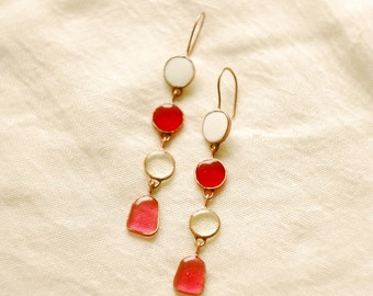 Long Earrings, Red earrings, Glass earrings, Pink earrings, Holiday earrings, Summer earrings, Circle earrings, Colored earrings.