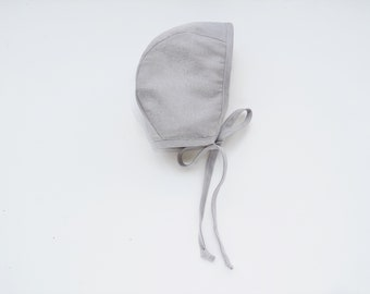 Baby linen bonnet Light Gray