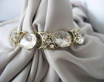 White Rhinestone Bracelet, Pear Shapes, Foil Backs, Link Bracelet, 1950s, Glass, Sparkling, Gold Plated, Vintage