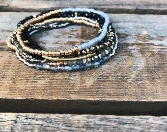 Beaded bracelet - beaded bracelet set - bracelet stack - stretch bracelets - boho bracelet - hematite bracelet - Coachella bracelet
