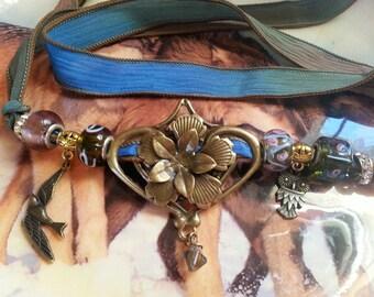 Lovely Silk Wrap Bracelet/Flower Lantern Charm/Gypsy/Boho