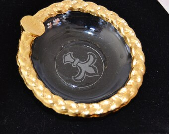 Vintage Ashtray with Gold Braiding and a Fleur de Lis Print on Glass Bottom