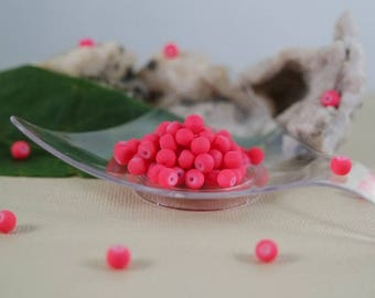 4 mm, hole: 0.8-1 mm, fluorescent - 40 round red neon rubberized glass beads