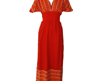 Vintage Mexican Embroidered Orange and Yellow Maxi Day Dress 1960s