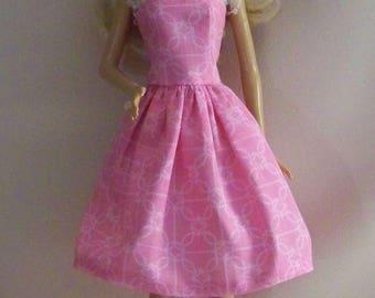 Handmade Barbie Doll Clothes-Pink Print Barbie Dress