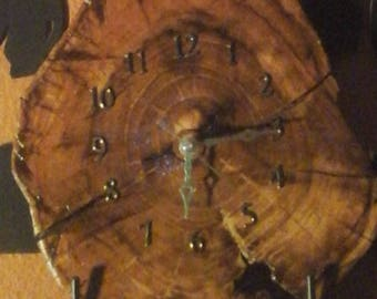 Handmade Mesquite Wood Slab Wall Clock - The Gorgeous Wood Grains and Rings show the Tree has stood its test of Time!