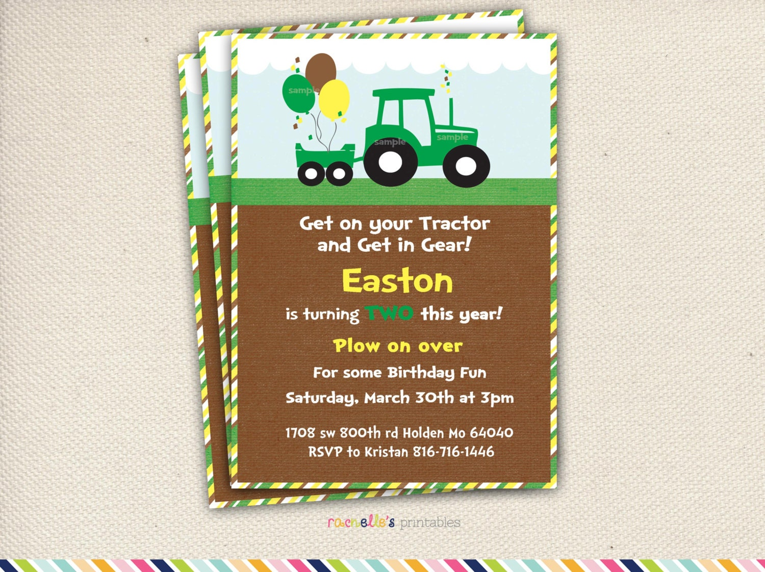 Green tractor birthday party invite and thank you cards zoom filmwisefo Choice Image