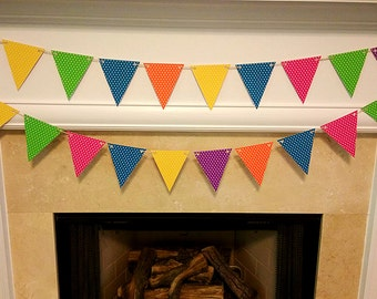 Paper Party Bunting, Polka Dot Bunting, Wedding, Birthday, Party Decor