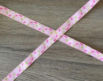 Pink Ribbon grosgrain Ribbon 15mm - Dragonfly - clear