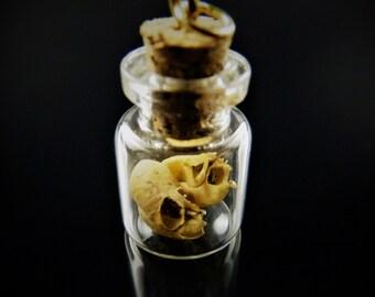 Tiny Monster Skull in Mini Glass Bottle Charm