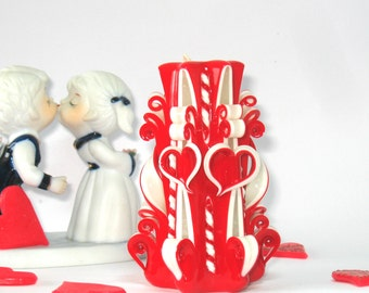 Valentine's Day Carved candles red candle two heart gift for girl Hand made candles Beautiful candle gift for lover