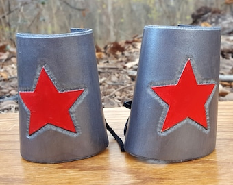 Warrior Woman Leather Silver Cuffs - Classic Bracer with Red Star Comic Costume Accessory