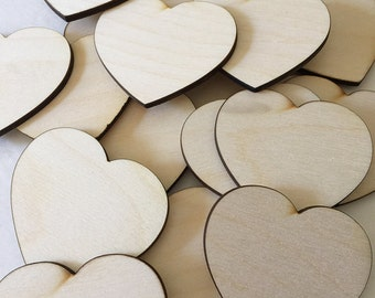 50 - 2 inch guestbook wood hearts - alternative guest book unfinished wooden hearts for wedding and parties