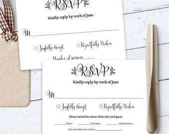 Wedding rsvp card, response card, reply card, printable, template, editable text, PDF, download instanly, Rustic,