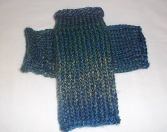Knit Fingerless Gloves, Arm Warmers, Knit Wrist Warmers, Knit Gaunlets, Knit Wristlets,Green and Blue Fingerless Gloves  - Ready to Ship