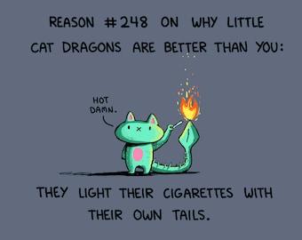 Little Cat Dragon Art Print (8.5x11)