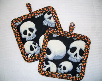Halloween Pot Holders, Set of 2, Insulated Potholders, Skull & Candy Corn Potholders, Trivets, Hot Pads, Kitchen Accessory, For the Cook
