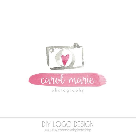 Camera diy business logo pastel photography watermark