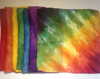 "Wee Little 11x11"" Playsilks - Rainbow of colors - set of 30"