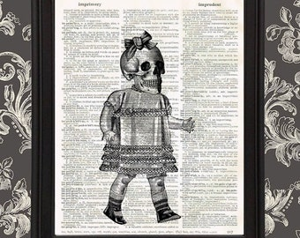 Victorian Scary Doll with Skull Head home decor Gift for Mom Vintage Dictionary Page Art Print Gothic Kids Halloween Skull Upcycled Recycled