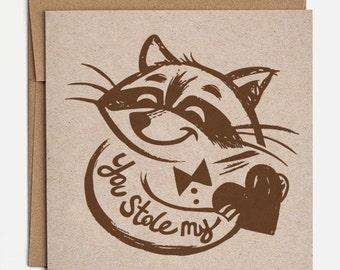 Raccoon Valentine Card - Raccoon Card, Anniversary Card, Pun Card, Raccoon, Love Card, Valentine Card