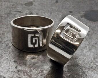 Greek Key Ring, Wide Band Sterling Silver Ring, Unisex Ring, Greek Meander Ring, Greek Infinity Statement Ring, Greek Jewelry, Men's Jewelry