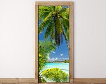 Door Mural Palm tree on Paradise - Self Adhesive Fabric Door Wrap Wall Sticker