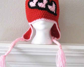 Red Toboggan for Girls With Pink Hearts Valentine Child Earflap Hat Beanie with Braids Crocheted Handmade New Night and Day Crochet