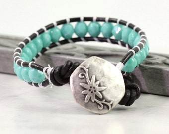 Teal Wrap Bracelet Beach Wrap Bracelet Sea Green Beaded Bracelet Bohemian Bracelet Aqua Bracelet Black Leather Wrap Bracelet Boho Jewelry