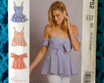 McCall's 7752, Misses Tops, Off the Shoulder, knot bodice, overlay, cape, straps, boning, flounce, Create it, New uncut sewing pattern
