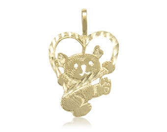 14K Solid Yellow Gold Heart Teddy Bear Pendant - Diamond Cut Necklace Charm