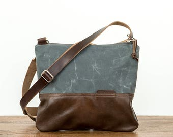 Zip Top Cross Body Day Bag, Waxed Canvas, Crossbody bag, Cross Body Bag, Canvas Crossbody, Waxed Canvas Bag, Canvas Purse, Slate Gray