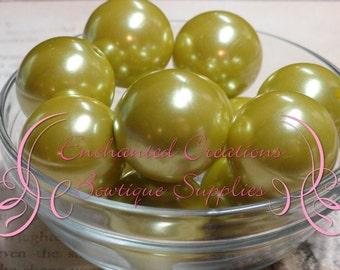 24mm Lemongrass Acrylic Pearl Beads Qty 6