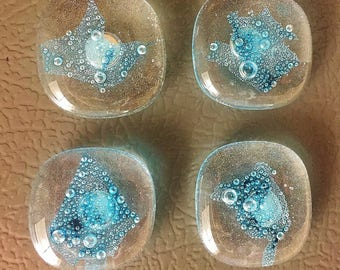 Turquoise Glass Bubble Magnets