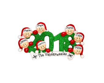 7 Family Members Ornament / Personalized Christmas Ornament / Friends Ornament / Brothers / Sisters / Office / Co-Workers Hand Personalized