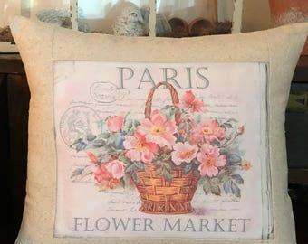 Paris Flower Market Rose Pillow with Pillow Form, French Script Flower Market Decorative Throw Pillow Cover, Cottage Shabby Chic Pillow