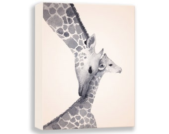 Watercolor - Giraffe Painting - Canvas - PRINT - Mom and Baby Girrafe - Home Decor - Wall Art - G601