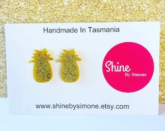 Glitter Gold Pineapple Acrylic Stud Earrings, pineapple earrings, gold earrings, glitter earrings, fruity earrings, statment earrings,