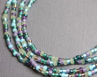 Blue Purple Seed Bead Necklace, Long Seed Bead Necklace, Blue Purple Layering Necklaces, Blue & Purple Beaded Necklaces, Kathy Bankston