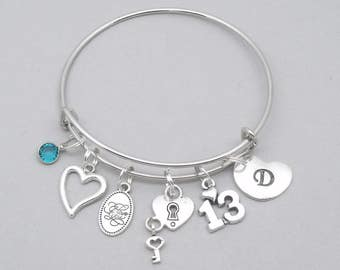13th Birthday heart charm bracelet | age 13 personalised bracelet | age 13 jewellery | 13 today | 13 charm bracelet | 13th personalised