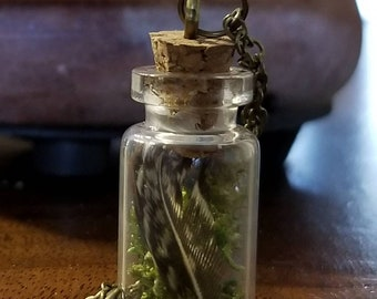 Small Feather Vial Necklace
